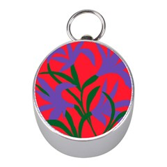 Purple Flower Red Background Mini Silver Compasses