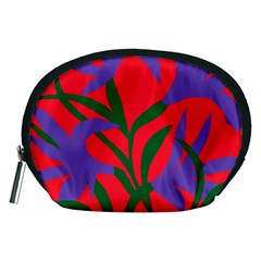 Purple Flower Red Background Accessory Pouches (Medium)