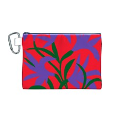 Purple Flower Red Background Canvas Cosmetic Bag (M)