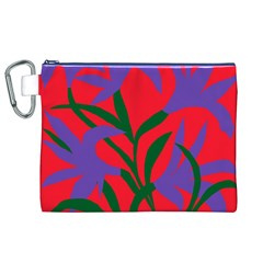 Purple Flower Red Background Canvas Cosmetic Bag (XL)