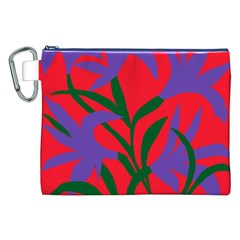 Purple Flower Red Background Canvas Cosmetic Bag (XXL)