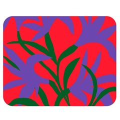 Purple Flower Red Background Double Sided Flano Blanket (Medium)