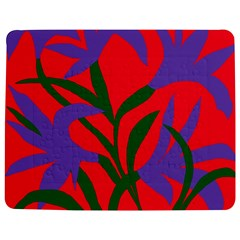 Purple Flower Red Background Jigsaw Puzzle Photo Stand (Rectangular)