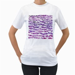 Original Feather Opaque Color Purple Women s T-Shirt (White) (Two Sided)