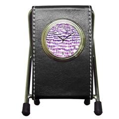 Original Feather Opaque Color Purple Pen Holder Desk Clocks