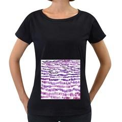 Original Feather Opaque Color Purple Women s Loose-Fit T-Shirt (Black)
