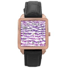 Original Feather Opaque Color Purple Rose Gold Leather Watch