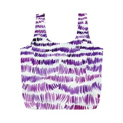 Original Feather Opaque Color Purple Full Print Recycle Bags (M)