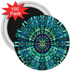 Peacock Throne Flower Green Tie Dye Kaleidoscope Opaque Color 3  Magnets (100 pack)