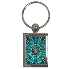 Peacock Throne Flower Green Tie Dye Kaleidoscope Opaque Color Key Chains (Rectangle)
