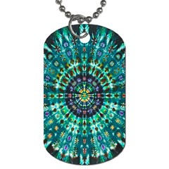 Peacock Throne Flower Green Tie Dye Kaleidoscope Opaque Color Dog Tag (One Side)
