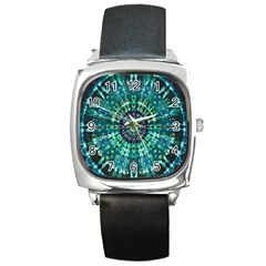 Peacock Throne Flower Green Tie Dye Kaleidoscope Opaque Color Square Metal Watch