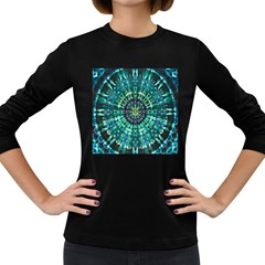 Peacock Throne Flower Green Tie Dye Kaleidoscope Opaque Color Women s Long Sleeve Dark T-Shirts