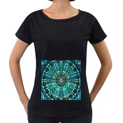 Peacock Throne Flower Green Tie Dye Kaleidoscope Opaque Color Women s Loose-Fit T-Shirt (Black)