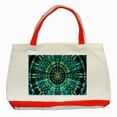 Peacock Throne Flower Green Tie Dye Kaleidoscope Opaque Color Classic Tote Bag (Red)