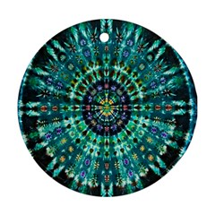 Peacock Throne Flower Green Tie Dye Kaleidoscope Opaque Color Round Ornament (two Sides)