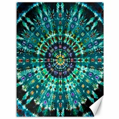 Peacock Throne Flower Green Tie Dye Kaleidoscope Opaque Color Canvas 36  X 48
