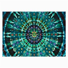 Peacock Throne Flower Green Tie Dye Kaleidoscope Opaque Color Large Glasses Cloth (2-Side)