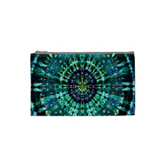 Peacock Throne Flower Green Tie Dye Kaleidoscope Opaque Color Cosmetic Bag (Small)