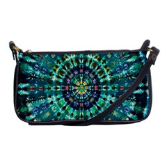 Peacock Throne Flower Green Tie Dye Kaleidoscope Opaque Color Shoulder Clutch Bags