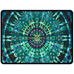 Peacock Throne Flower Green Tie Dye Kaleidoscope Opaque Color Fleece Blanket (large)