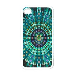 Peacock Throne Flower Green Tie Dye Kaleidoscope Opaque Color Apple iPhone 4 Case (White)