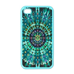 Peacock Throne Flower Green Tie Dye Kaleidoscope Opaque Color Apple iPhone 4 Case (Color)