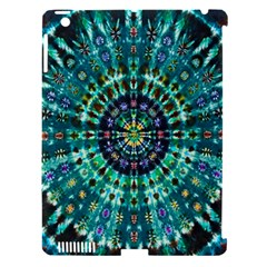 Peacock Throne Flower Green Tie Dye Kaleidoscope Opaque Color Apple iPad 3/4 Hardshell Case (Compatible with Smart Cover)