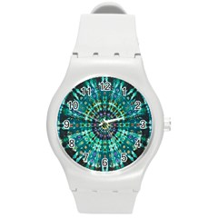 Peacock Throne Flower Green Tie Dye Kaleidoscope Opaque Color Round Plastic Sport Watch (M)