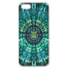 Peacock Throne Flower Green Tie Dye Kaleidoscope Opaque Color Apple Seamless iPhone 5 Case (Clear)