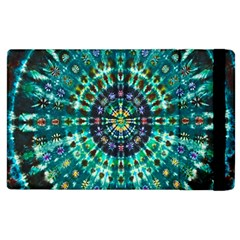 Peacock Throne Flower Green Tie Dye Kaleidoscope Opaque Color Apple iPad 3/4 Flip Case