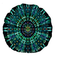 Peacock Throne Flower Green Tie Dye Kaleidoscope Opaque Color Large 18  Premium Round Cushions