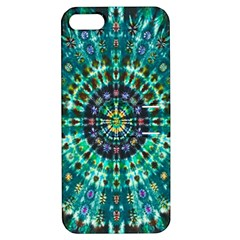 Peacock Throne Flower Green Tie Dye Kaleidoscope Opaque Color Apple iPhone 5 Hardshell Case with Stand