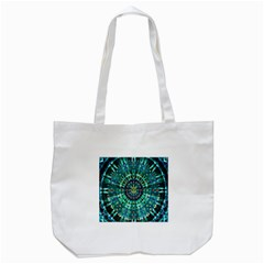 Peacock Throne Flower Green Tie Dye Kaleidoscope Opaque Color Tote Bag (White)