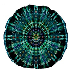 Peacock Throne Flower Green Tie Dye Kaleidoscope Opaque Color Large 18  Premium Flano Round Cushions