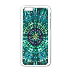 Peacock Throne Flower Green Tie Dye Kaleidoscope Opaque Color Apple iPhone 6/6S White Enamel Case