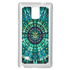 Peacock Throne Flower Green Tie Dye Kaleidoscope Opaque Color Samsung Galaxy Note 4 Case (White)