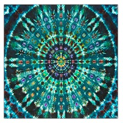 Peacock Throne Flower Green Tie Dye Kaleidoscope Opaque Color Large Satin Scarf (Square)