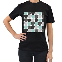 Sugar Blue Fabric Polka Dots Circle Women s T-Shirt (Black) (Two Sided)