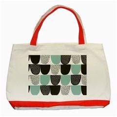 Sugar Blue Fabric Polka Dots Circle Classic Tote Bag (Red)