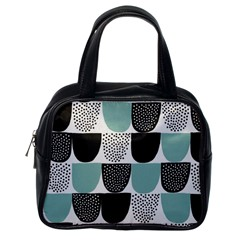 Sugar Blue Fabric Polka Dots Circle Classic Handbags (One Side)