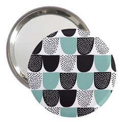Sugar Blue Fabric Polka Dots Circle 3  Handbag Mirrors