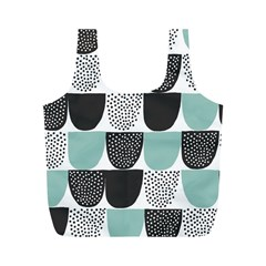 Sugar Blue Fabric Polka Dots Circle Full Print Recycle Bags (M)
