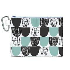 Sugar Blue Fabric Polka Dots Circle Canvas Cosmetic Bag (XL)