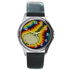 Red Blue Yellow Green Medium Rainbow Tie Dye Kaleidoscope Opaque Color Round Metal Watch