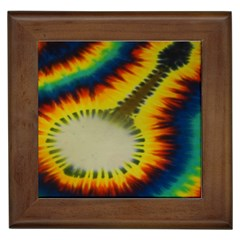 Red Blue Yellow Green Medium Rainbow Tie Dye Kaleidoscope Opaque Color Framed Tiles
