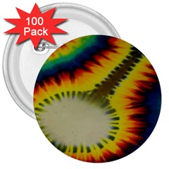 Red Blue Yellow Green Medium Rainbow Tie Dye Kaleidoscope Opaque Color 3  Buttons (100 pack)