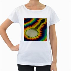 Red Blue Yellow Green Medium Rainbow Tie Dye Kaleidoscope Opaque Color Women s Loose-Fit T-Shirt (White)