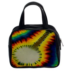 Red Blue Yellow Green Medium Rainbow Tie Dye Kaleidoscope Opaque Color Classic Handbags (2 Sides)