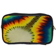 Red Blue Yellow Green Medium Rainbow Tie Dye Kaleidoscope Opaque Color Toiletries Bags